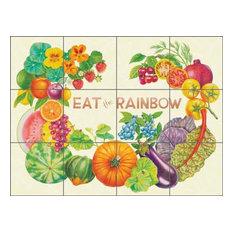 "Ceramic Tile Mural Backsplash ""Eat the Rainbow"" by Joan Chamberlain, 24""x18"""