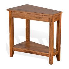 Chair Side Wedge Table Rustic Oak