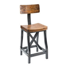 INK+IVY Lancaster Bar Height Stool With Back