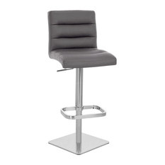 Lush Square Base Adjustable Height Swivel Armless Barstool, Slate