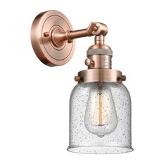 Small Bell 1-Light Sconce, Antique Copper, Glass: Seedy