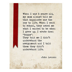Keep Calm Collection - When I Was 5 Years Old (John Lennon Quote), Motivational Art Print - Prints and Posters