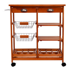 """Aosom - HomCom 29"""" Portable Rolling Trolley Kitchen Cart With Tile Top and Wine Rack - Kitchen Islands and Kitchen Carts"""