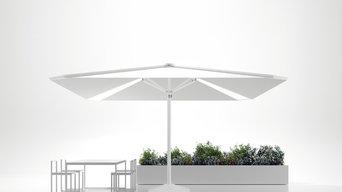 Backlit parasols for patio