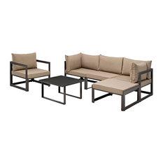 Modern Urban Contemporary Outdoor Patio Sectional Sofa, Mocha Fabric, Set of 6