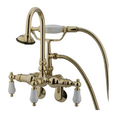 Adjustable Center Wall Mount Clawfoot Tub Filler, Hand Shower, Polished Brass
