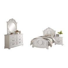4-Piece Libby Girls Cottage Twin Bed, Dresser, Mirror, Nightstand, White