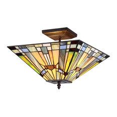 chloe lighting inc kinsey 2light mission semiflush ceiling fixture