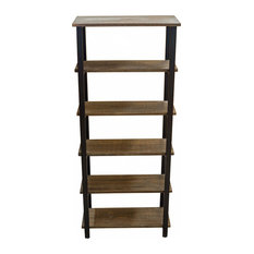 "Pomona 70"" 5-Shelf Metal and Solid Wood Bookcase"