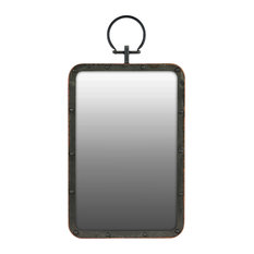 Rectangle Metal Wall Mirror with Metal Hanger, Gloss Black , 13""