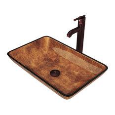 VIGO Rectangular Russet Glass Vessel Sink and Faucet Set, Oil Rubbed Bronze