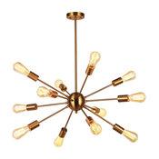 12 Lights Brushed Brass Starburst Sputnik Chandelier Retro Ceiling Light