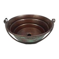 "Round Copper Vessel Bucket Bath Sink, Green Patina Finish, 15"""