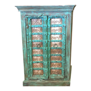 Mogul Interior - Consigned Antique Armoire Moroccan carved Brass Patina Green Storage Cabinet - Storage Cabinets