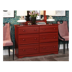 100% Solid Wood Double Dresser With 4 Super, 2 Standard Drawers, Mahogany