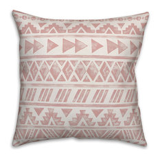 Blush Watercolor Tribal Pattern 18x18 Throw Pillow