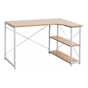 Modern Corner Desk, Particle Board With Steel Frame With 3 Open Shelves, White
