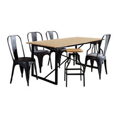 Cosmos Industrial 7-Piece Dining Table Set With Grey Metal Chairs