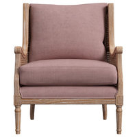 Peoria Dusty Pink Linen Rattan Accent Chair