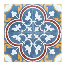 Roseton C Design Encaustic Cement Tile, Set of 13, 8x8