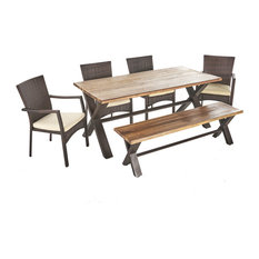 6-Piece Brassel Outdoor Acacia Wood Dining Set With Wicker Dining Chairs