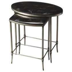 Trend Contemporary Side Tables And End Tables Madison Fossil Stone Nesting Tables