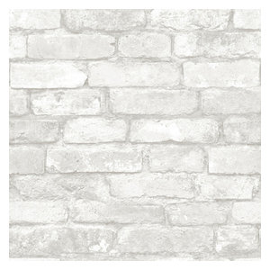Gray and White Brick Peel and Stick Wallpaper, 4 Rolls