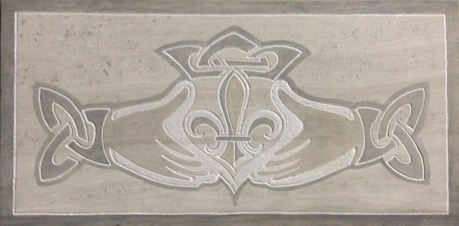 Kitchen Backsplash Tile-Claddgh & Fleur De Lis Marble Tile