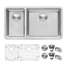 """Ruvati 32"""" Undermount Kitchen Sink 30/70 Double Bowl RVM5307"""