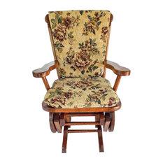 Amish Child Glider Rocker Oak Hardwood Upholstered, Fruitwood Stain/Flowers