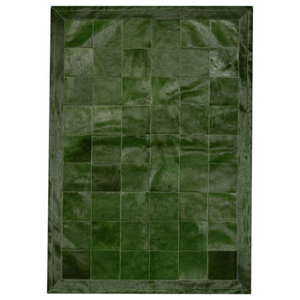 Patchwork Leather Cubed Cowhide Rug, Green Olive With Border, 200x300 cm