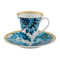 Gold Exotic Coffee Cup and Saucer