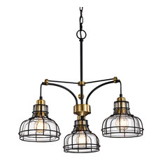 Locke 3-Light Black and Antique Gold Chandelier With Clear Glass Shade