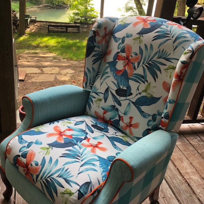 Coral and Teal Chair