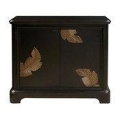 Modern Black Bar Cabinet With a Gold Finish Leaf Carving