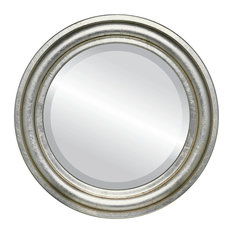 """Philadelphia Framed Round Mirror in Silver Leaf with Brown Antique, 17""""x17"""""""