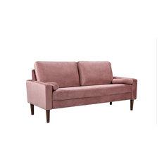 Mid Century Modern Sofa, Tapered Legs With Velvet Upholstered Seat, Rose