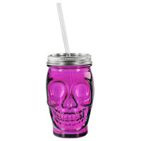 13.5oz Sugar Skull Glass Straw Tumbler, Fuchsia/Hot Pink