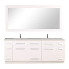 "Moscony 84"" Double Sink Vanity Set, White"