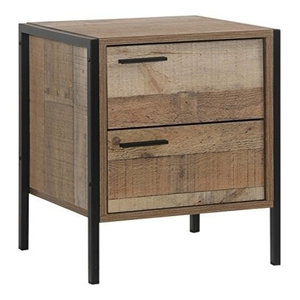 Rustic Bedside Table, Solid Pine Wood With Metal Frame and 2 Storage Drawers