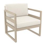 Mykonos Patio Club Chair Taupe with Sunbrella Natural Cushion