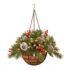 """National Tree Company - 20"""" Frosted Berry Hanging Basket With Battery Operated Warm White LED Lights - Outdoor Holiday Decorations"""