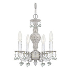 Crystorama Paris Market 4-Light Clear Murano Crystal White Mini Chandelier