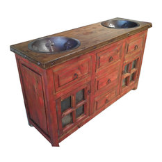 """Red Wash Rustic Reclaimed Wood Vanity With Storage, Two Copper Sinks 60""""x20""""x32"""""""