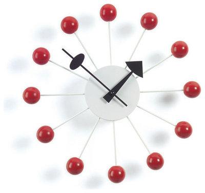 Midcentury Clocks Nelson Ball Clock, Red