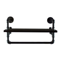 """OS Home and Office 27"""" Pipe Shelf and Clothes Rack, Reclaimed Aged Wood"""