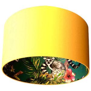 Silhouette Cotton Lampshade, Lemur in Egg Yolk, 45x25 cm