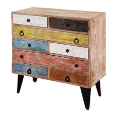 Pastel Colors Mango Wood & Iron Standing 8 Drawer Accent Chest