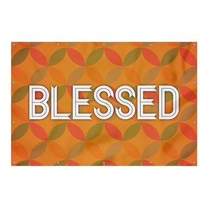 12x8 Holiday Decor Merry and Bright Peach Wind-Resistant Outdoor Mesh Vinyl Banner CGSignLab