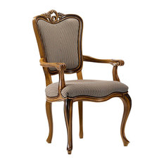 Classic Carved Dining Chair With Striped Upholstery, With Armrests